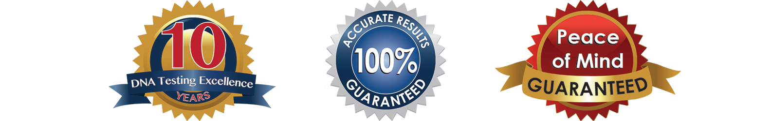 10 DNA testing excellence years, Accurate results 100% guaranteed, peace of mind guaranteed, BBB Accredited business, and A plus